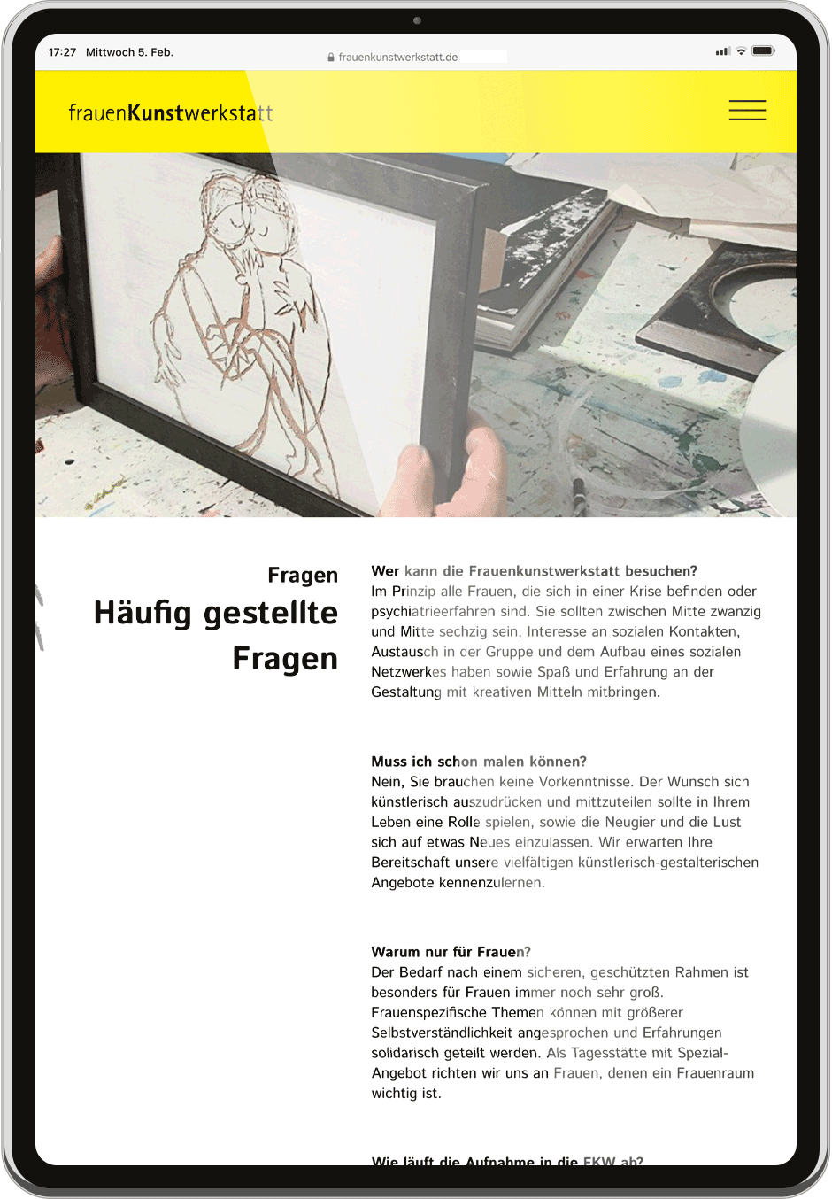 Frauenkunstwerkstatt Website Tablet Fragen